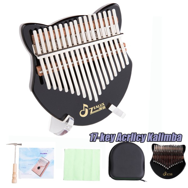 17-key Acrylic Kalimba Black Kalimba Thumb Piano with Tuning Hammer