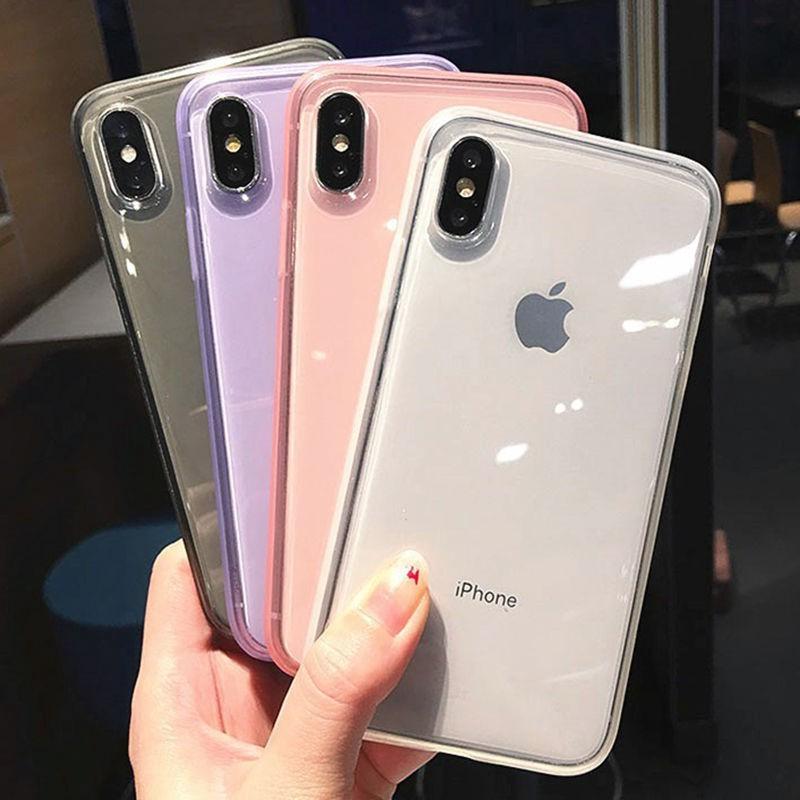 Ốp điện thoại TPU mềm trong suốt màu kẹo dễ thương cho iPhone11 6s 7 8 6plus 6splus 7plus 8plus X Xs Xr XsMax