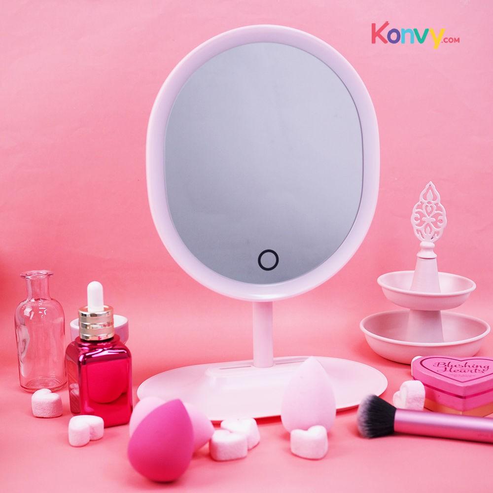 กระจกแต่งหน้ามีไฟ กระจกแต่งหน้าแบบตั้งโต๊ะสีชมพู K-SELECT Fashion Desktop LED Makeup Mirror Set