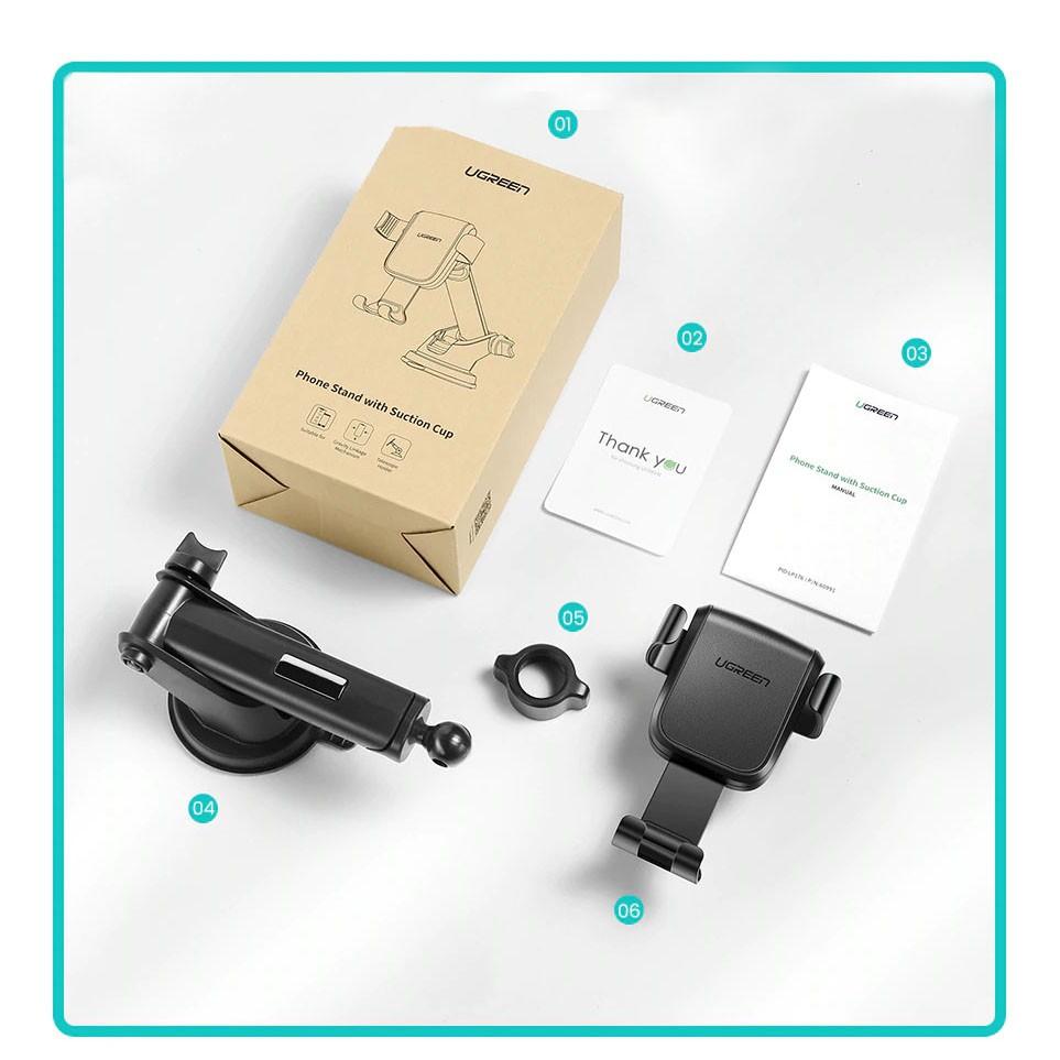 Giá đỡ điện thoại dạng hít trên mặt kính chắn gió - Xoay góc 360 tiện lợi UGREEN LP200 60990