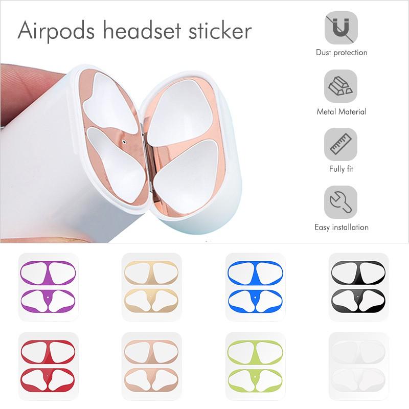 Khung kim loại siêu mỏng bảo vệ chống bụi bẩn dành cho hộp sạc tai nghe airpod