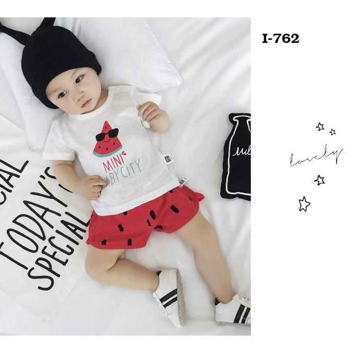 Áo Thun cotton cho bé trai và bé gái In Họa Tiết MINI BABY CITY
