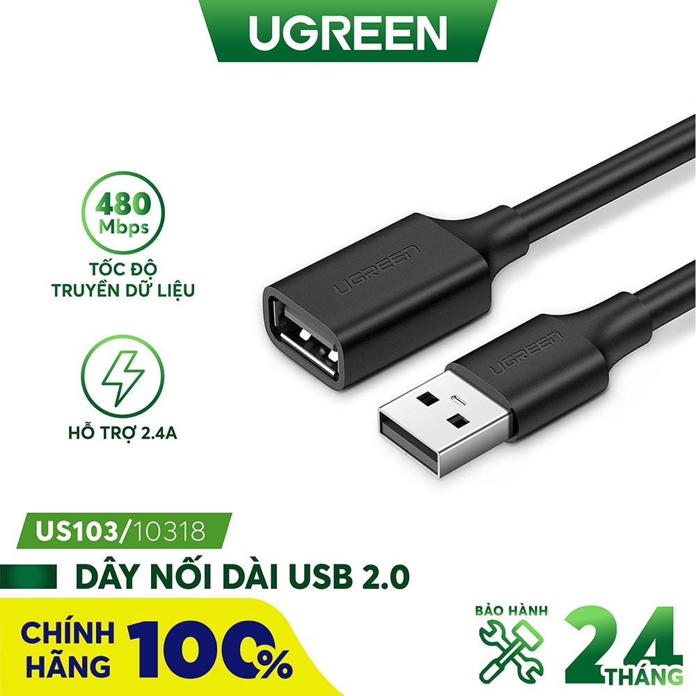 Dây USB 2.0 nối dài UGREEN US103 dùng cho PC, Laptop, Macbook hàng chính hãng