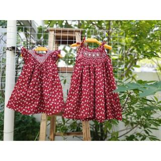 Váy smock hoa hồng nền đỏ tím