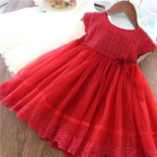 Đầm Đỏ Thêu Hoa Cho Bé Gái
