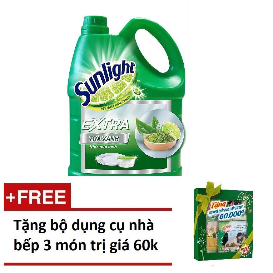 [QUÀ] Nước rửa chén Sunlight Trà Nhật chai 3.8kg tặng 1 bộ dụng cụ nhà bếp 3 món (MSP 67208771)