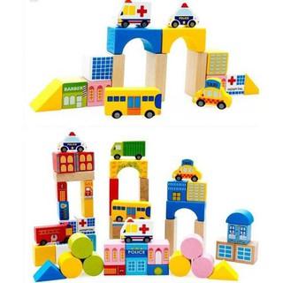 Bộ đồ chơi lắp ghép mô hình thành phố bằng gỗ 62 chi tiết cho bé