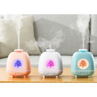 Máy xông tinh dầu, phun sương giả gốm sứ hoa 4 mùa kiêm LED 7 màu cao cấp 2021làm quà tặng rất sành điệu.