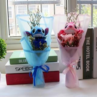 Bó Hoa Hồng Nhồi Bông Hình Stitch Đáng Yêu