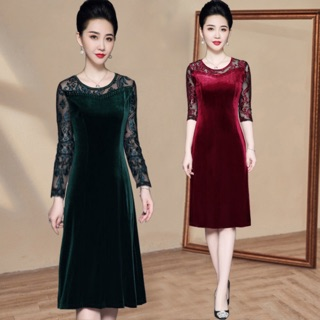 Váy nhung trung niên nữ siêu giảm giá