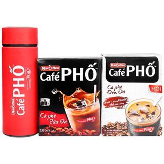 Combo Cà phê sữa đá & cà phê đen đá MacCoffee Café Phố 240g & 160g
