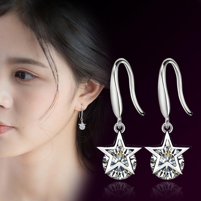 ( HOT ) BÔNG tai Nữ MODEL 2018 thời trang Hàn Quốc đính hạt kim cương hình ngôi sao - 1 màu thời tra
