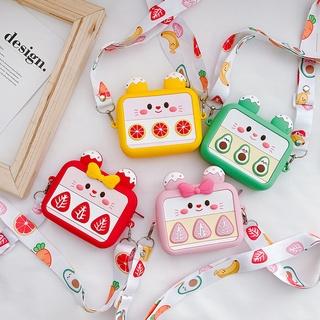 Children's Bag Cartoon Fruit Small Bag Girl Cute Silicone Bag Parent Son Master Messenger Bag Baby Purse