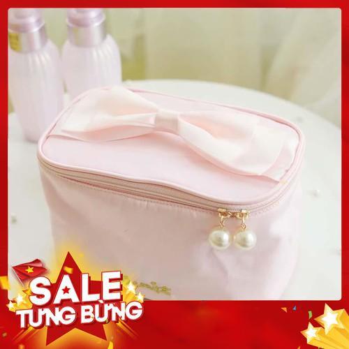 Túi đựng mỹ phẩm cột nơ dễ thương cho nữ – Hàng nhập khẩu