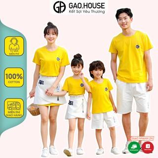 Áo gia đình Gạo House cotton 4 chiều cổ tròn màu vàng họa tiết tròn ngực trái thumbnail