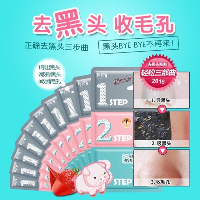Set lột mụn đầu đen 3 bước Hanji dạng gói