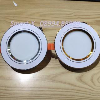 Đèn âm trần , mắt trâu LED 7W 3 màu , phi 90 đế tản nhiệt nhôm Viền Vàng,viền Bạc