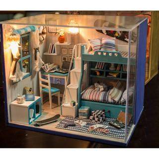 Nhà búp bê Cute Room – Phòng ngủ với giường tầng màu xanh lam cho hai anh em – mẫu II