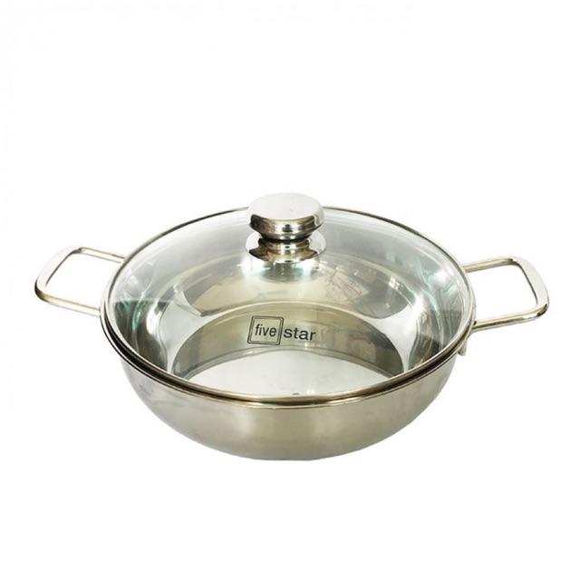 Nồi lẩu đa năng, nấu nướng - chảo xào inox đáy từ 3 lớp 24cm, 26cm, 28cm
