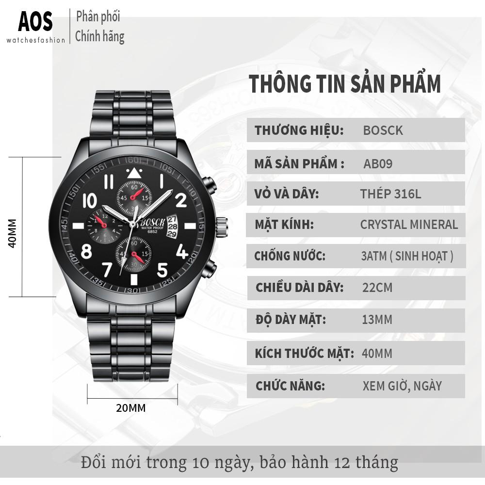 Đồng hồ nam giảm giá BOSCK chính hãng, lên tay tuyệt đẹp, chống nước tốt