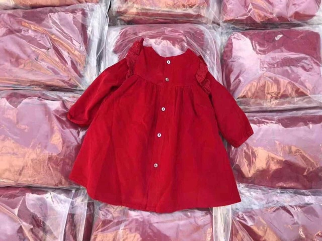 Váy nhung tăm phối bèo ren dành cho bé gái