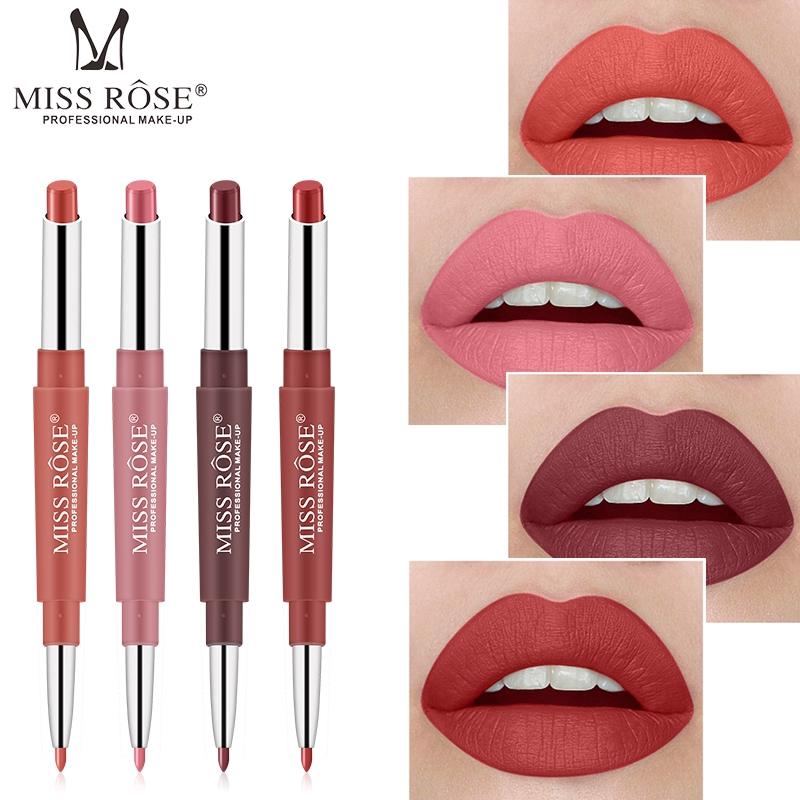 [Hàng mới về] Son môi lì kèm chì kẻ viền môi MISS ROSE 2 trong 1 lên màu đẹp cho nữ