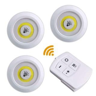 – Bộ 3 bóng mini Điều khiển từ xa – Đèn led dán tường thông minh treo cầu thang phòng ngủ gắn tủ trang trí