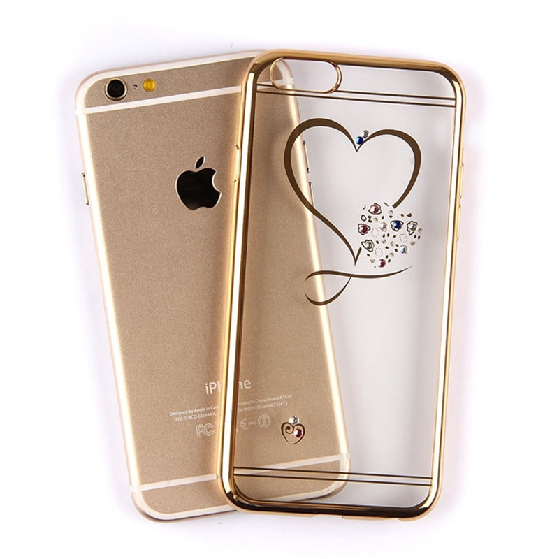 Ốp điện thoại TPU trong suốt họa tiết trái tim xinh xắn dành cho iPhone 5S/6/6+/7/7+/8/8+/X/XR/XSMax