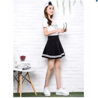 Chân váy ngắn xếp ly viền kẻ-Dma Store