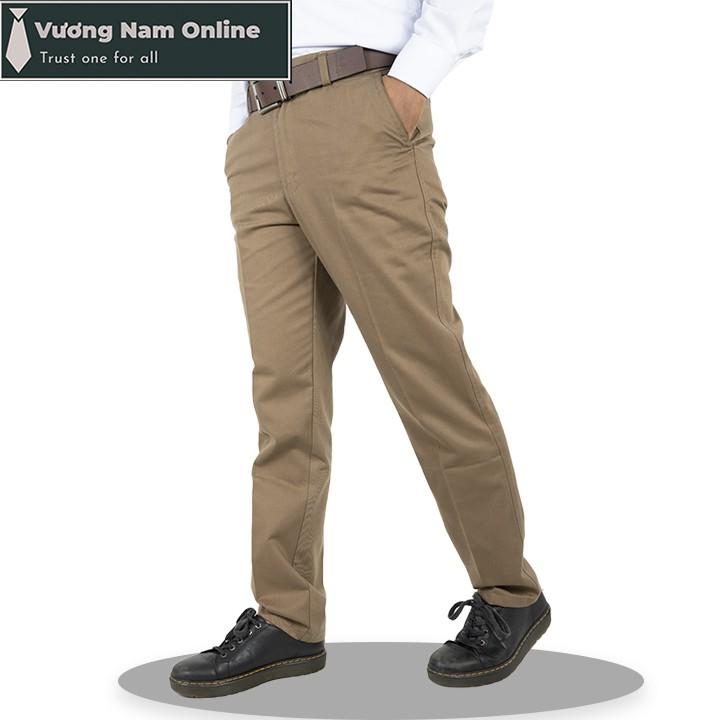 Quần kaki nam trung niên ống suông