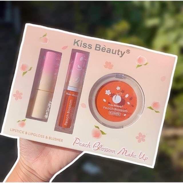 Bộ Trang Điểm 3 Sản Phẩm 2 Son + 1 Má Cam Peach Blossom Của Kiss Beauty