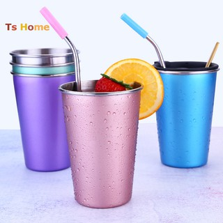 【TS】500ml Stainless Steel Coffee Mug Beer Tea Milk Travel Hand Large Cup Straw Lid