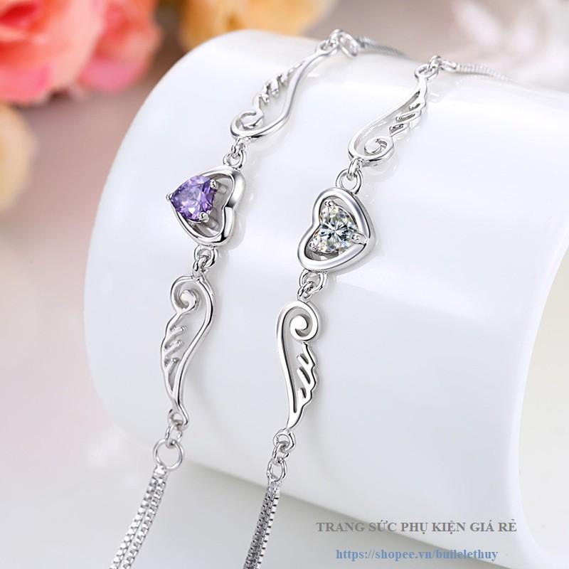 Vòng tay nữ cánh thiên thần phong cách Hàn Quốc, xi bạc ý 925, nhỏ xinh, sale giá rẻ