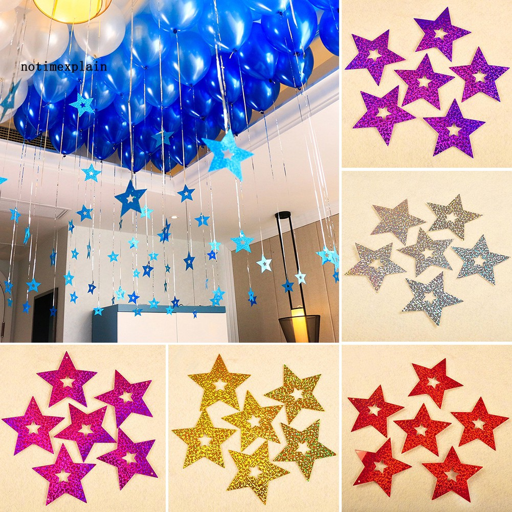 NAME 100Pcs Ribbon Bling Shiny Stars Pendant Wedding Balloon Decor Party Supplies