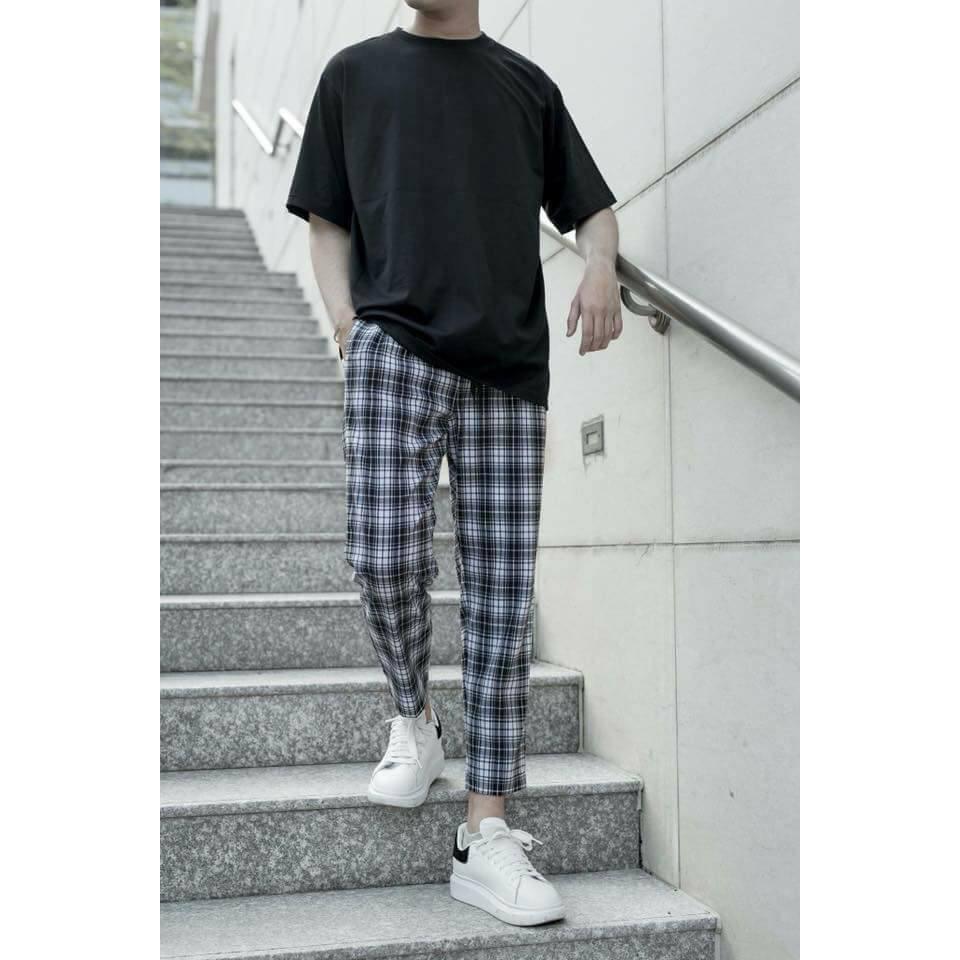 [COMBO TIẾT KIỆM] Áo trơn đen + quần caro unisex