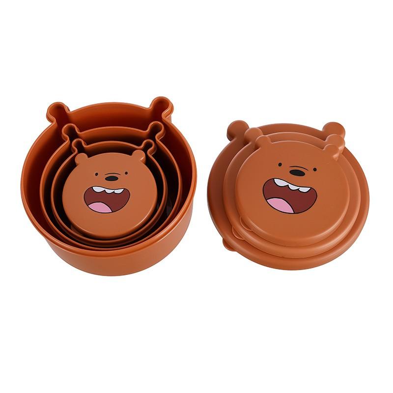 Set 4 hộp đựng thức ăn, thực phẩm anh em nhà gấu We Bare Bears Chúng tôi đơn giản là gấu chính hãng Miniso