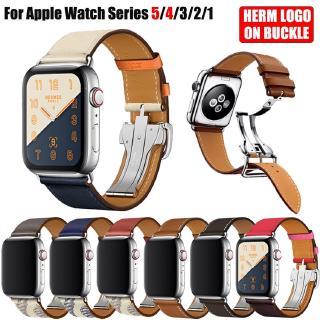 Dây da khóa kim loại dành cho đồng hồ thông minh Apple Watch Series 5 4 3 2 1 iWatch 44mm 40mm 38mm 42mm