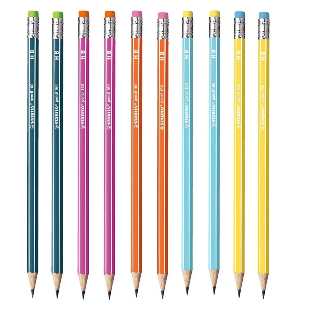 Bộ 10 cây bút chì gỗ STABILO pencil 160 HB (2 màu nhớt + 2 màu vàng + 2 màu hồng + 2 màu cam + 2 màu