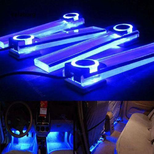 Đèn LED ánh sáng xanh trang trí nội thất xe hơi 4 trong 1 12V
