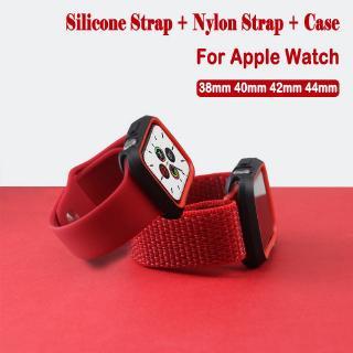 Dây Đeo Silicone+Vỏ Bảo Vệ Cho Đồng Hồ Thông Minh Apple Watch 44mm 40mm 42mm 38mm Iwatch series 6 SE 5 4 3 2 1