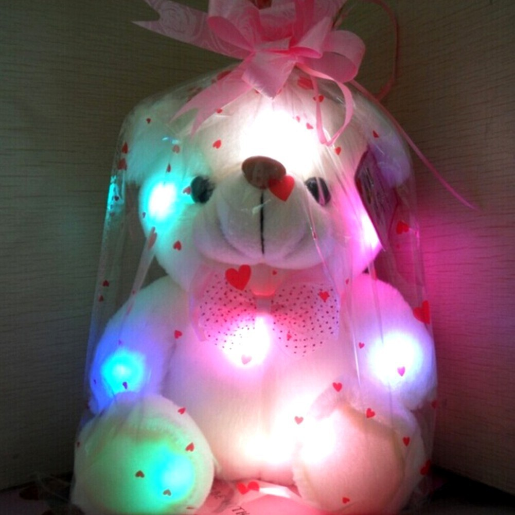 NEWNight Light LED Flash Stuffed Plush Bear Soft Doll Toy Home Decor