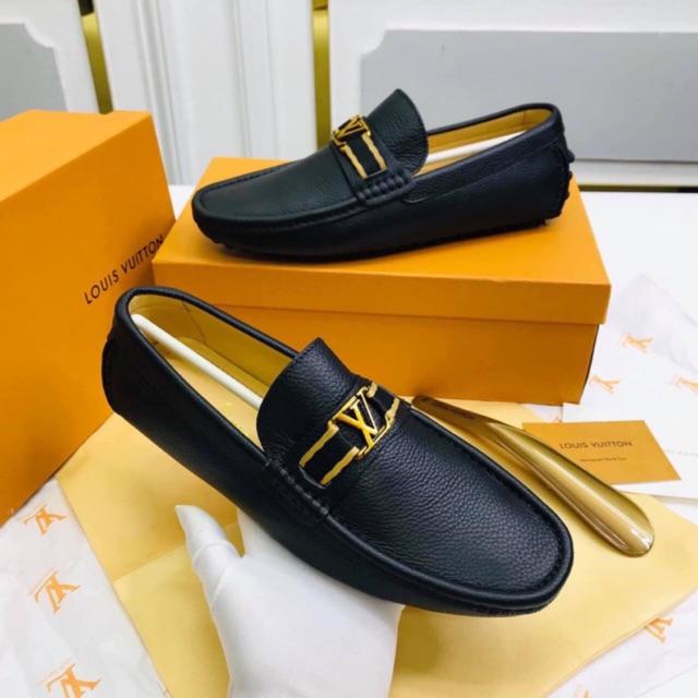 (3 Màu) Giày Lừoi Nam Da Đen EOVI Xịn Quai Phối Vải Màu cực đẹp