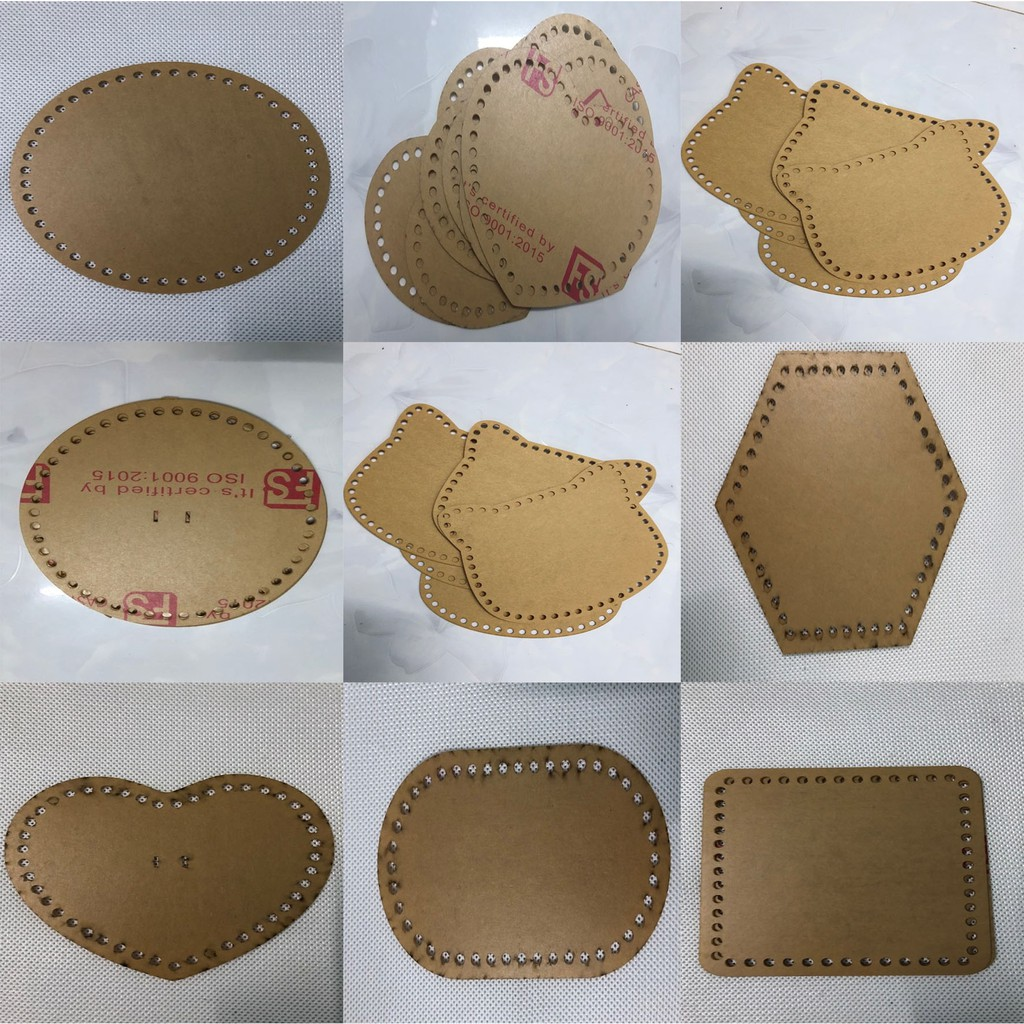 Phụ kiện mặt túi trong suốt hình tròn tim vuông oval mèo lục giác chữ nhật chuột ( 1 cái )