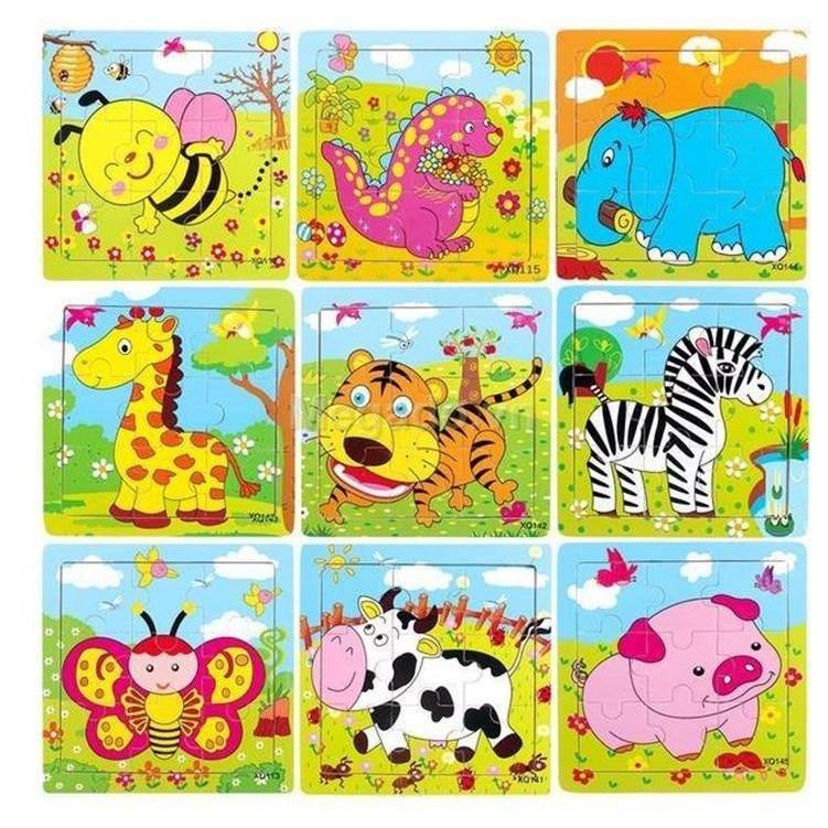 Combo 10 tranh ghép hình gỗ 9 mảnh ghép cho bé