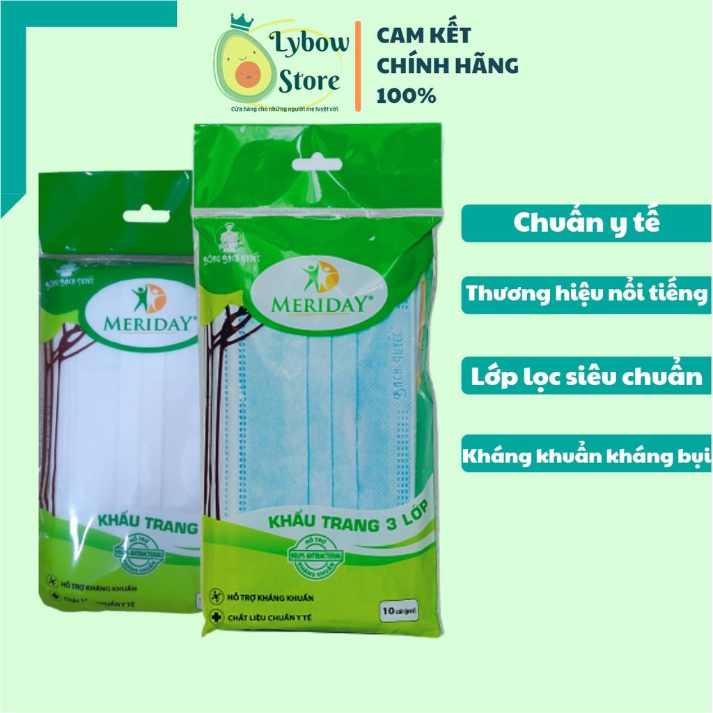 [GIÁ RẺ] Khẩu Trang Y Tế Bạch Tuyết Khẩu Trang Meriday (1 gói 10 cái) (Khẩu trang y tế trắng, Khẩu trang y tế màu xanh)