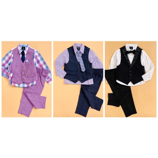 Set bộ Vest bé trai 4 món (áo sơ mi + ghi lê + cavat + quần tây) I Z O D + Steve Harvey