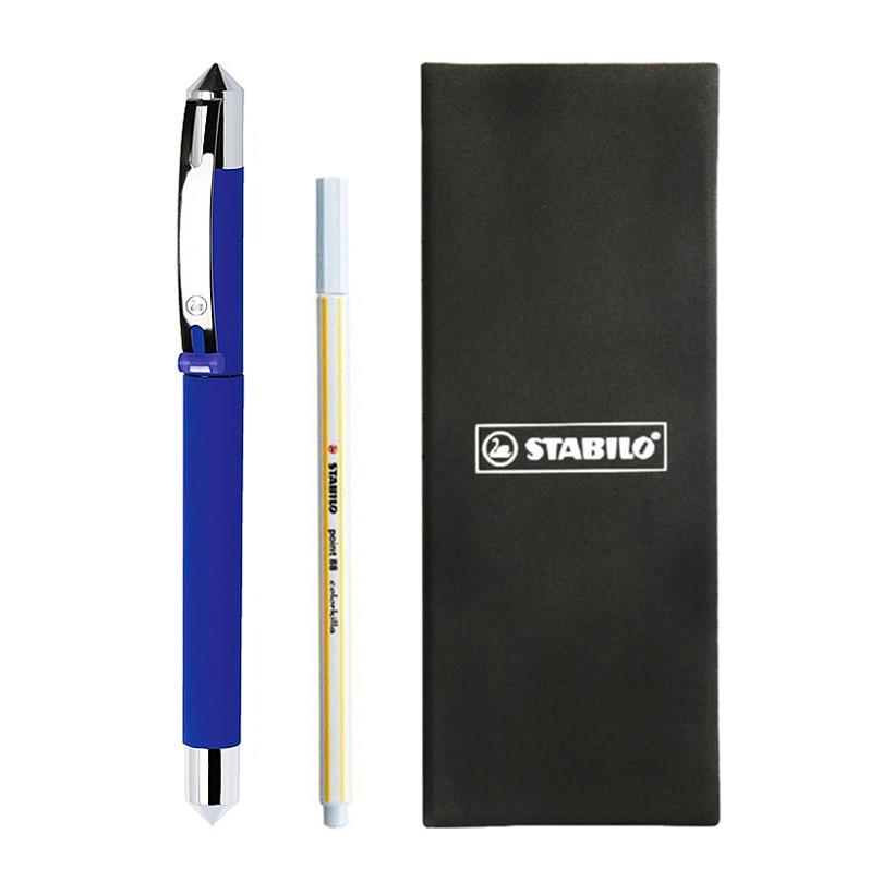 Bộ bút máy Stabilo BeCrazy ngòi 0.5mm FPE-UNI-BU (Thân xanh dương) + Bút xóa PT88ERK + Hộp đựng