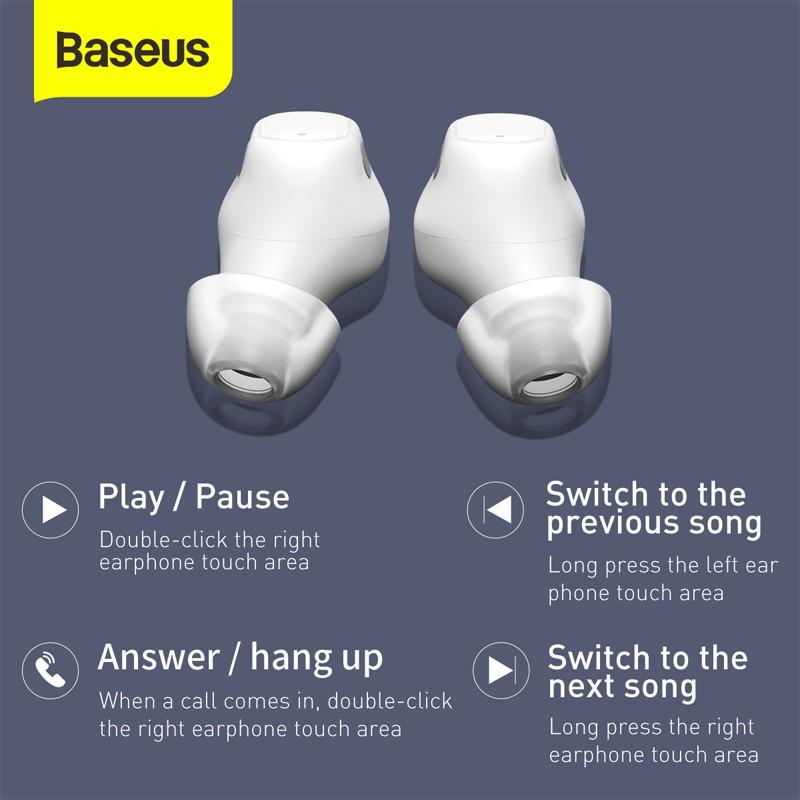 Bộ Tai Nghe Bluetooth 5.0 Baseus Wm01 Tws Chống Ồn Kèm Phụ Kiện