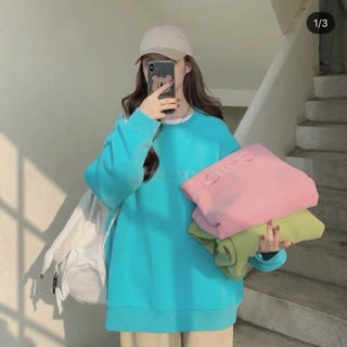 [Clip thật] Sweater nỉ ulzzang (pass lại màu xanh lá)🍓