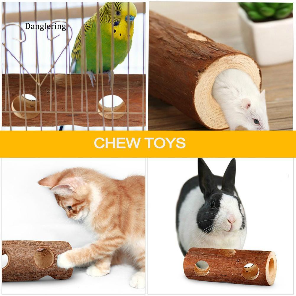 【DGLG】Pet Hamster Mice Gerbils Natural Wood Tunnel Tube Bird Cat Rabbit Playing Toy